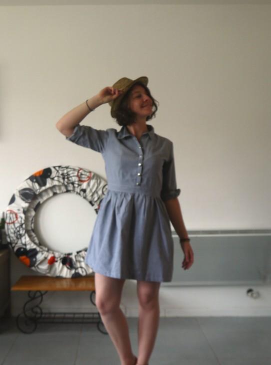 robe chemise chapeau